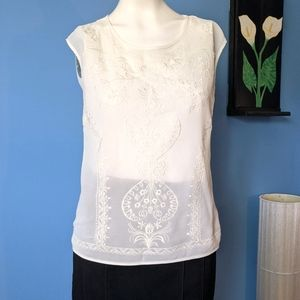 Champagne and strawberry ivory sleeveless blouse